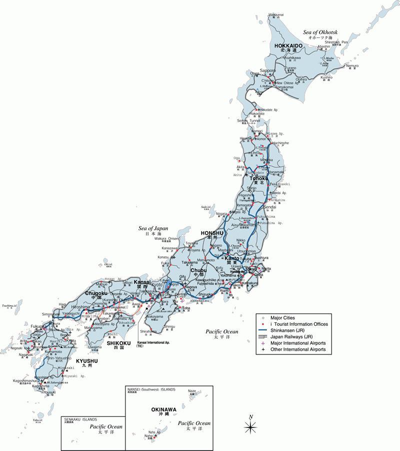 Japan World Snowboard Guide - Japan map main cities