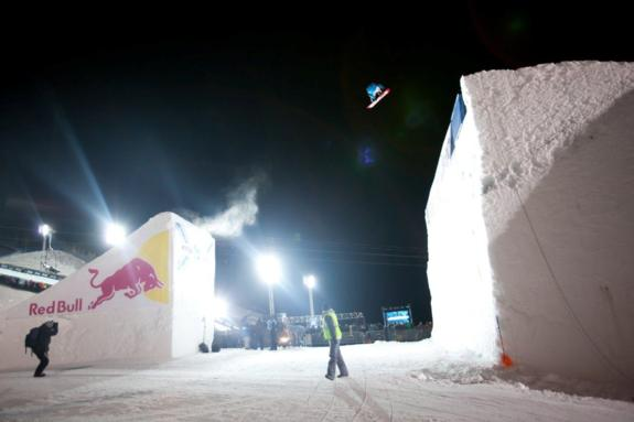 Torstein Horgmo competes in the Men's Snowboard Big Air Final at Winter X Games 2012