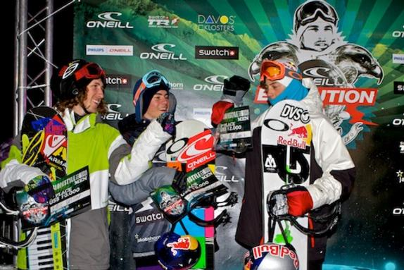 Evolution 2011 mens slopestyle winners podium