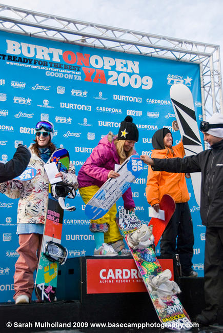 Burton NZ Open 2009, womens slopestyle podium