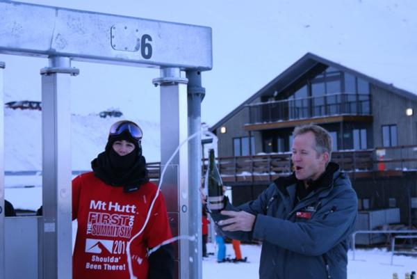 Mt Hutt ski area manager James McKenzie officially opens the Summit Six chair