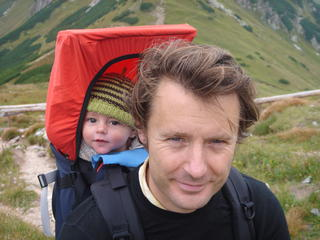 Pete with son in Slovakia