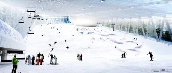 The proposed 700m long, 50m wide indoor slope