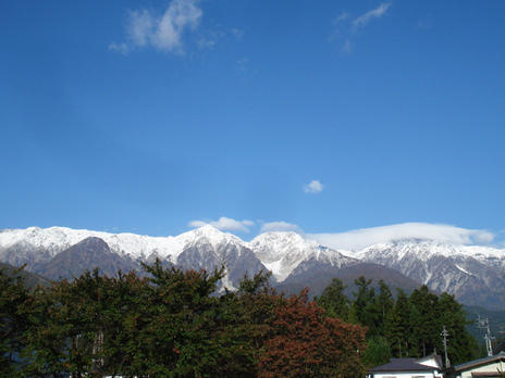 first snowfall in Hakuba on 8th October 2009