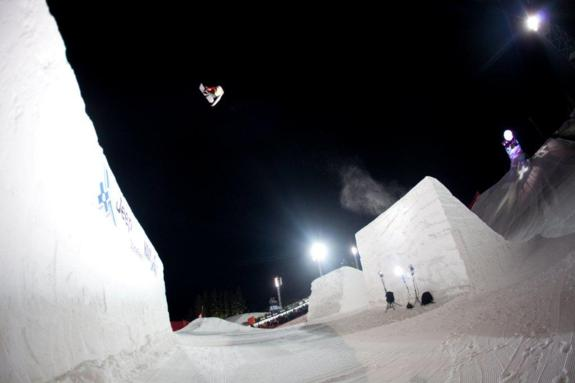 Tyler Flanagan competes in Snowboard Big Air Final at Winter X Games 15