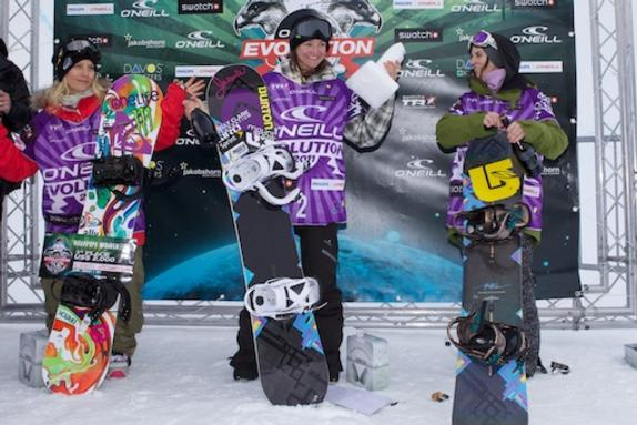 Evolution 2011 womens halfpipe finals podium