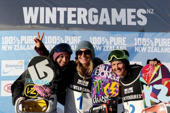 womens podium at the 2011 Winter Games NZ Snowboard Slopestyle
