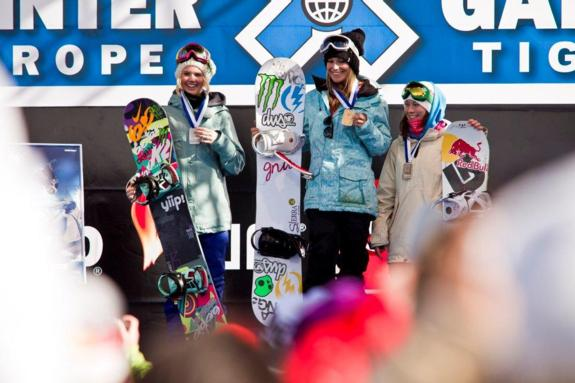 Womens podium in the 2011 Europe Winter X Games Slopestyle Final