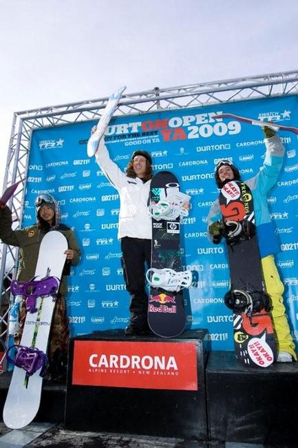 Mens podium at the halfpipe competition at the NZ 09 Burton Open