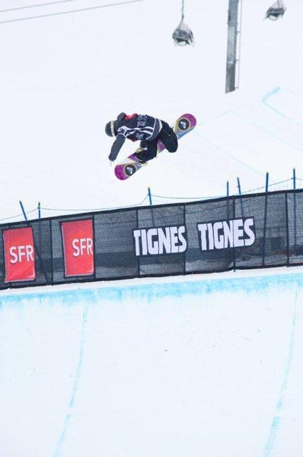Torah Bright, Bside Air during pipe qualifications at Winter X 2010 Games Europe