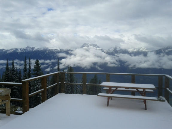 September 11, 2012 – Looking out from the deck at Mackenzie Outpost, top of the Revelation Gondola