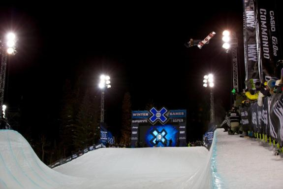 Shaun White competes Men's Snowboard SuperPipe Finals during Winter X Games 2012