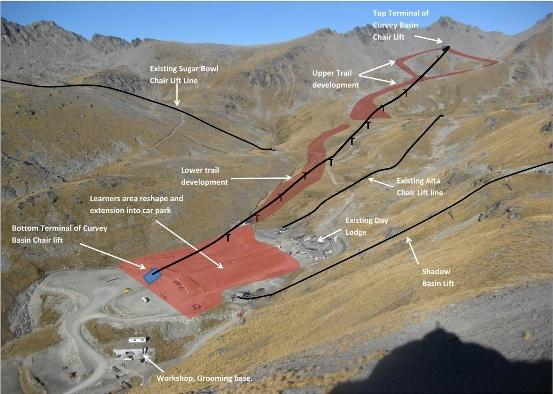 Aerial view of The Remarkables ski area showing existing lift lines and the new proposed route!