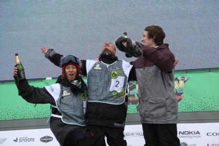 2011 Burton US Open halfpipe mens winners podium