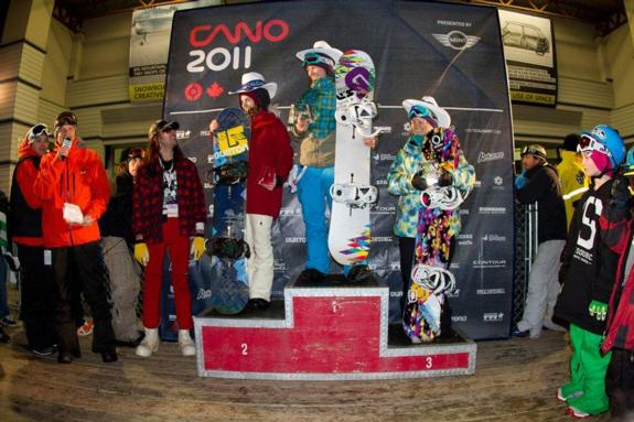 Canadian Open womens Halfpipe 2011 winners podium