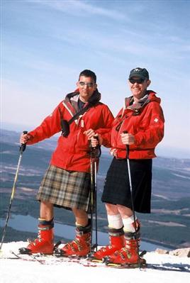 Kilted right up - Jim Cornfoot & Willie Fraser of CairnGorm Ski Patrol