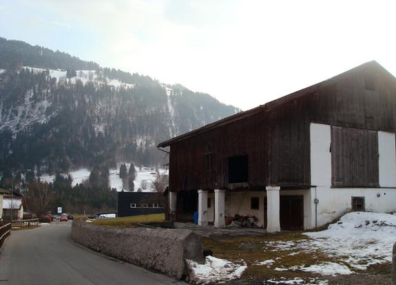 Gruesch village, cow shed