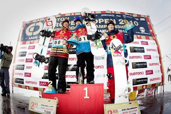 BEO mens halfpipe finals, winners podium