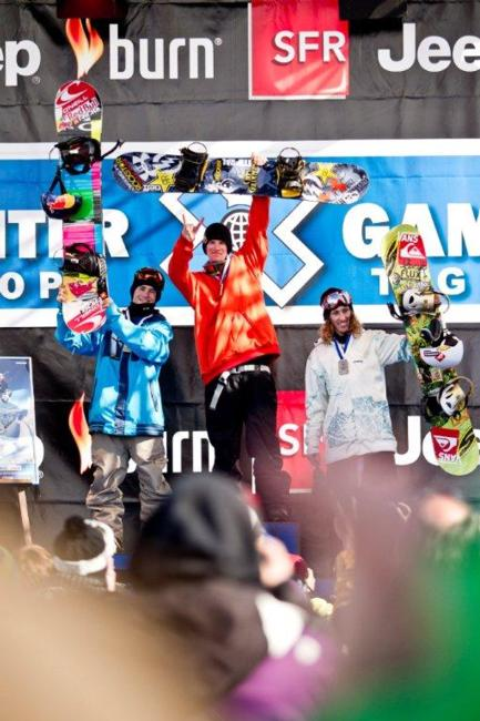 Mens Slopestyle podium at the Winter X Games 2011 in Tignes