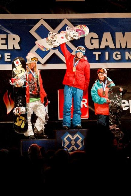 2011 X Games Europe SuperPipe Womens Final podium