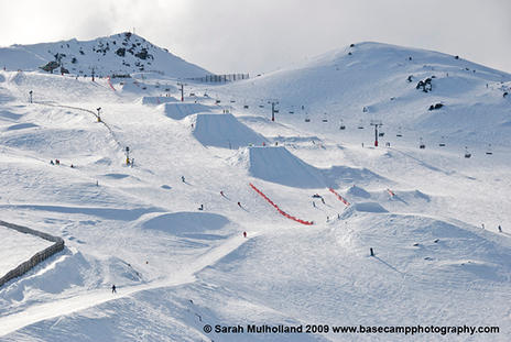 Burton NZ Open 2009, slopestyle course in Cardrona