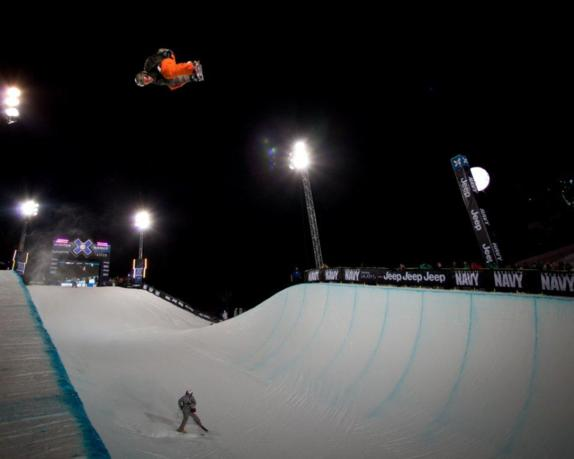 Scotty Lago competes in Snowboard SuperPipe Men's Eliminations at Winter X Games 15