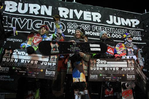 Burn river jump Big Air 2011 winners podium in livigno riders