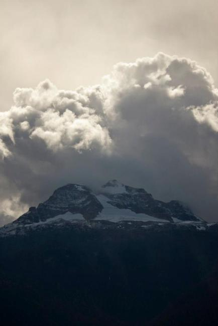 Sept 10, 2012 – Looking across the valley at the fresh snow on Mt. B