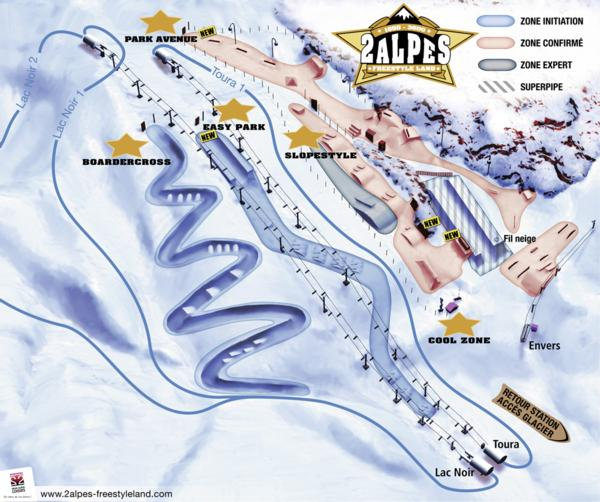 Deux Alps Freestyle Land layout 2013-14
