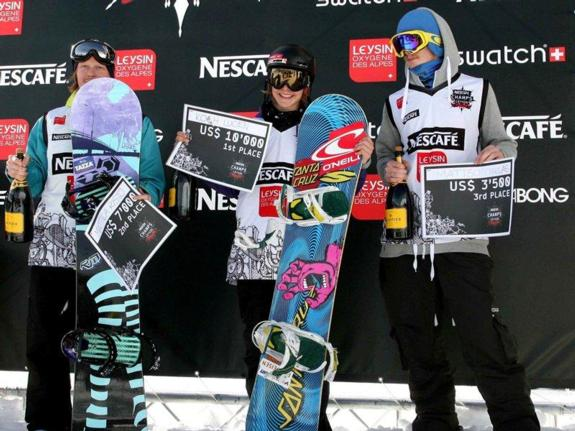 Mens podium at 2011 Nescape Champs in Leysin