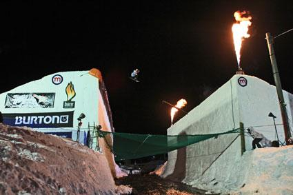 Burn river jump Big Air 2011 in livigno riders Ethan Morgan, Eric Willet