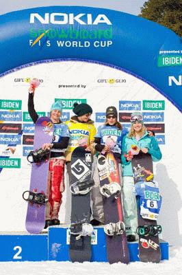 Zoe Gillings on the podium in Gujo-Gifu Japan