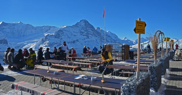 Grindelwald view from the restaurant on the First
