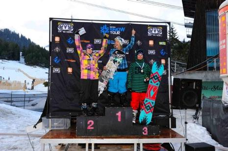 Brits 09, womens slopestyle podium