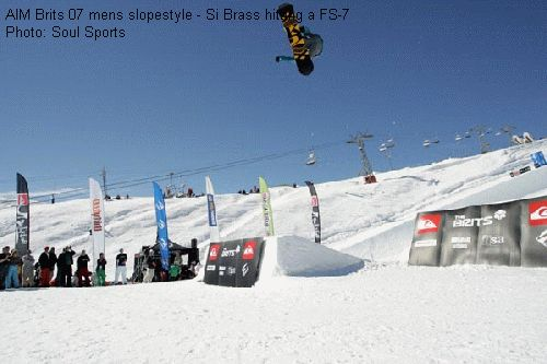 AIM Brits 07 mens slopestyle - Si Brass hitting a FS-7