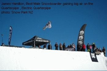James Hamilton, Best Male Snowboarder gaining big air on the Quarterpipe , Electric Quarterpipe