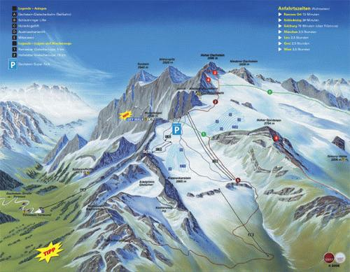 Dachstein Glacier Summer Map