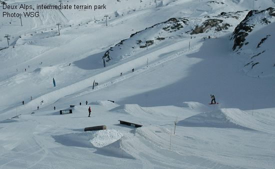 Deux Alps, intermediate terrain park
