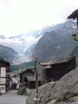 Saas-fee town in the summer