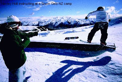 Hayley Holt instructing at a Snow Girls NZ camp
